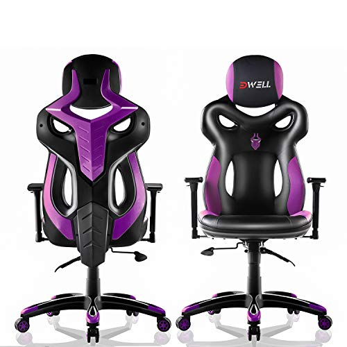EDWELL Office Chair Racing Gaming Chair, Adjustable PU Leather Executive Computer Desk Chair, High-Back Video Chair with Headrest and Armrest for Adults, Black & Purple Chairs Desk Dining Features Home Kitchen Office