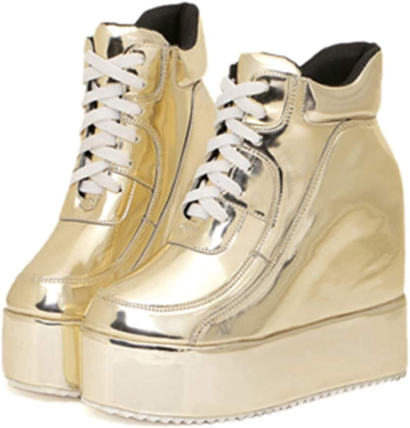 Lelehwhge New Spring Autumn Fashion gold Silver Platform shoes Women Increased Wedge High Top Platform Sneakers gold 6.5 M US