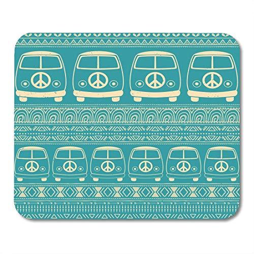 Preisvergleich Produktbild Mauspad Hippie Oldtimer Minivan Zierliebe und Musik mit Gekritzel und Hippie-Farbe Retro 1960er Jahre 70er Jahre Stil Bürobedarf Mauspad Zoll Zoll Mousepad