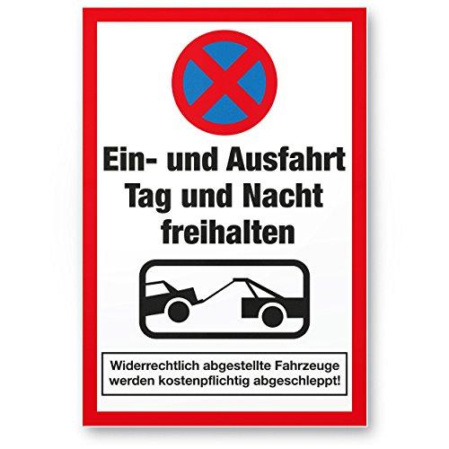 Komma Security Ein- und Ausfahrt Tag- und Nacht Freihalten Kunststoff Schild 20 x 30 cm Warnhinweis -abschleppen Hinweisschild Einfahrt - auch gegenüber Parken verboten - Parkverbot Halteverbot