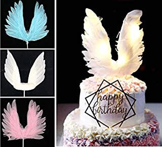 LED Angel Pink White Big Feathers Wings Party Birthday Backing Cake Topper Decor