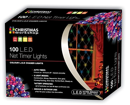 Christmas Workshop 100 LED Multi-Coloured net lights, Indoor and Outdoor ~Battery Operated ~ Christmas, Weddings & Gardens ~ 8 Functions~ 76060