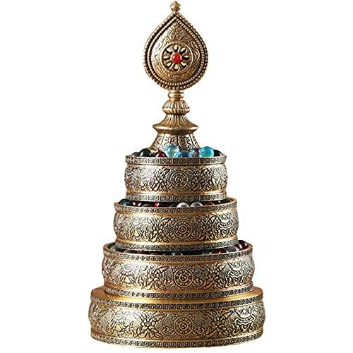 Figuras de jardín, Decoraciones tibetanas for el hogar Budista, Placa de Mano de latón Adornos Hechos a Mano, ofrendas religiosas for Buena Suerte, latón (Color : Brass)