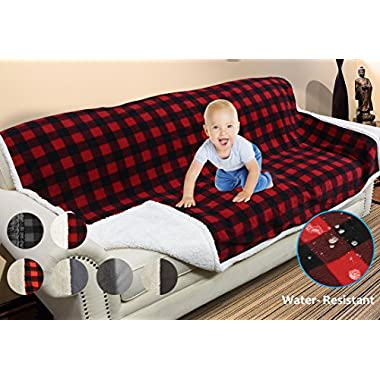 Catalonia Waterproof Blanket,Pee Proof Couch Sofa Bed Protector Cover for Baby,Super Cozy Plush Fleece Warm Sherpa Lining Throws and Blankets for Boating Camping 80 x60  Red Plaid