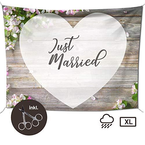 Hochzeitslaken – Hochzeitsherz zum Ausschneiden, als Hochzeitsspiel fürs Brautpaar beim Standesamt, Großes Motiv (240x180 cm, Blütenholz)