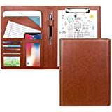 WAVEYU Padfolio Business/Resume Portfolio Folder, Leather Interview Portfolio Business Portfolio Portfolio Organizer with Legal Pad Folder Clipboard,Interview Folder for Men/Women, Light Brown