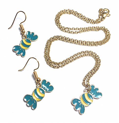 FizzyButton Gifts Turquoise en gele snoepjes zoete charme gouden ketting en oorbellen druppels in geschenkdoos