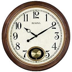 Bulova C4868 Jefferson Wall Clock, Brown Cherry