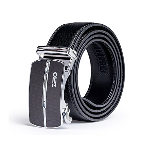 ZRO Men's 35mm Automatic Buckle Ratchet Leather Belt Black