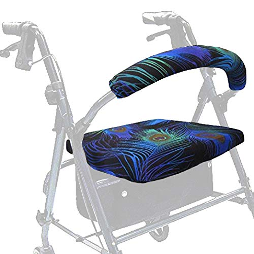 Crutcheze Made in USA Rollator Walker Seat and Backrest Covers | Designer Fashion Accessories (Peacock Feathers)