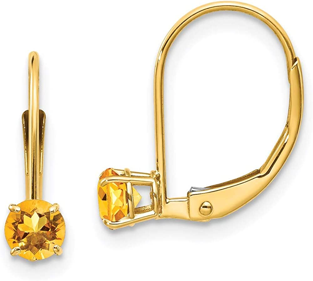 14k Yellow Gold 4mm Round November/citrine Leverback Earrings Lever Back Drop Dangle Birthstone November Fine Jewelry For Women Gifts For Her