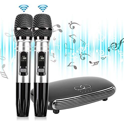 Dpofirs Micrófono inalámbrico, Karaoke Sala de Estar TV Teléfono móvil Micrófono de Metal Bluetooth Tarjeta de Sonido de Fibra óptica para Smart Television/Smart Television Box/TV Box/PC(Plata)