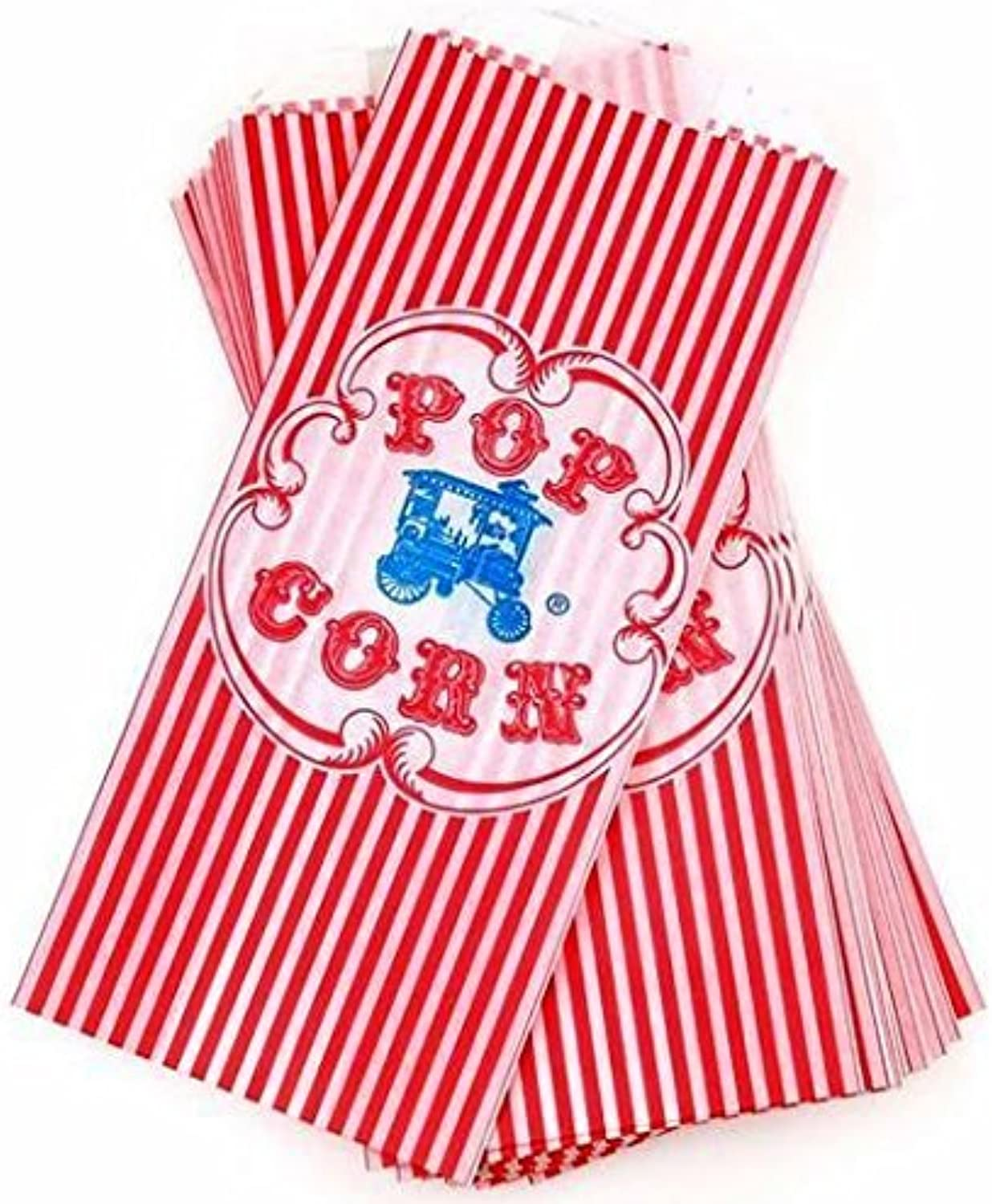 Vintage Retro Style Red Striped Wagon Popcorn Bag  100 Count