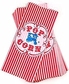 Vintage Retro Style Red Striped Wagon Popcorn Bag - 100 Count by Beach Party