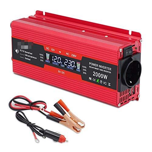 J-Love Pantalla LCD 1500W/2000W2600W Inicio/Salida DC12V a AC 230V Adaptador de Enchufe Europeo de Onda sinusoidal modificada, inversor de Corriente de Coche USB de 3.1A Dual