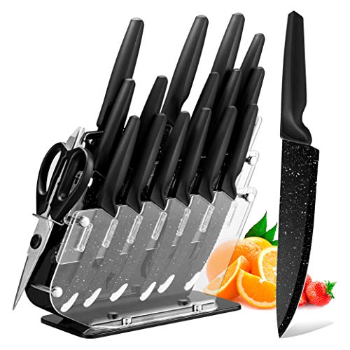 Knife Set, HOBO 17-Piece Kitchen Knives Set, Stainless Steel Chef Knife Set with Acrylic Block, 6 Steak Knives, Professional Non-Slip Handle, Kitchen Scissors, Cooking Black Knife Set