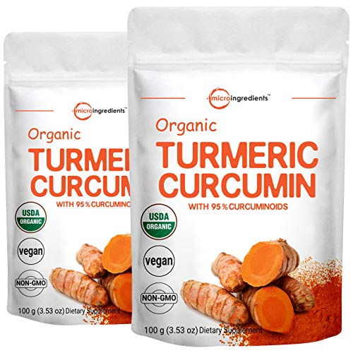 2 Pack Maximum Strength Organic Pure Curcumin Powder, (Natural Turmeric Extract and Turmeric Supplements), Rich in Antioxidants for Joint & Immune Support, 100 Gram, Non-GMO and Vegan Friendly