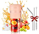Portable Blender, Personal Size Blender Shakes and Smoothies Mini Juicer Cup USB Rechargeable, One-handed Drinking Food Grade Juicer for Home Office Sports Outdoors Travel Blender 300ml with Stainless Steel Straws & Cleaning Brush - Pink