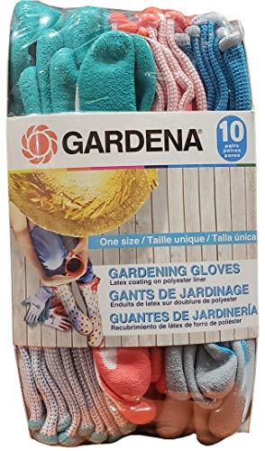 Gardena Latex Gardening Gloves, 10 Count