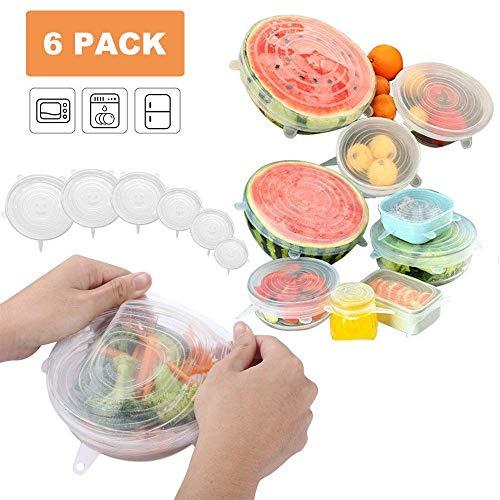 Tapas de Silicona Elásticas, 6 Pcs Tapas de silicona para alimentos de tamaños de diferentes Tapas Extensibles Reutilizable Fundas Protectoras para los...