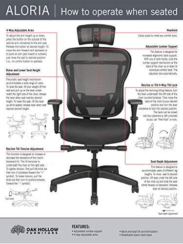Oak Hollow Furniture Aloria Series Office Chair Ergonomic Executive Computer Chair, Fabric Soft Seat Cushion, Mesh Back, Adjustable Lumbar Support Swivel and Tilt (Black with Headrest)