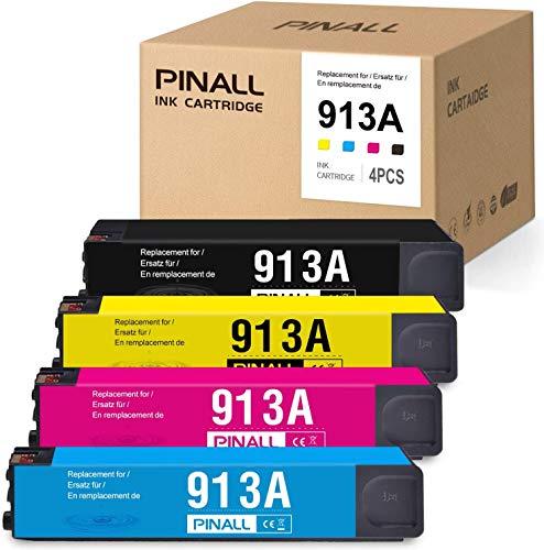 PINALL 4 Druckerpatronen Remanufactured HP 913 HP 913A Multipack für HP PageWide Pro 377dw 377dn Pro 477dw 477dn Pro 352dn 452dn MFP 477dw 552dw 577dw Managed MFP P55250dw P57750dw Drucker (4 Pack)