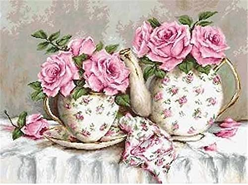 5D Diamond Painting Kitchen Full Round Diamond Embroidery Flower Mosaic Cup Needlework Gift Home Decor A1 40x50cm