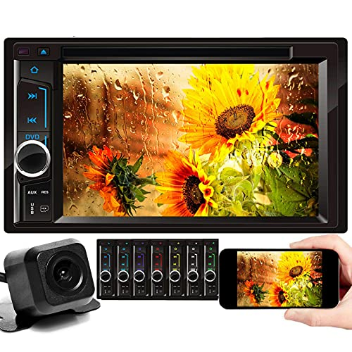 Car Radio Double Din with Backup Camera for Chevy Silverado 1500 2500 3500 2003-2006, Bluetooth, Mirror Link, AM FM Receiver, Built-in Mic, 6.2inch Touch Screen, CD DVD Player, Steering Wheel Control