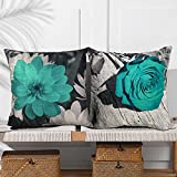 FCOZM Teal Pillows Covers 18x18 Teal Blue Rose Flower Throw Pillow Covers Farmhouse Linen Summer Decorative Pillow Covers Couch Sofa Bed Modern Vintage Floral Square Pillow Cases Set of 2 (Teal Black)
