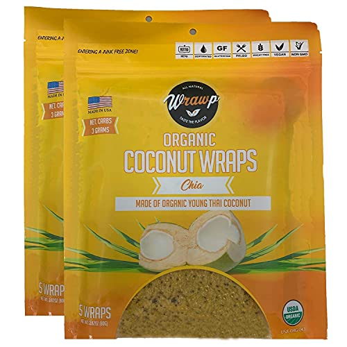 WrawP Chia Coconut Wraps 2 Pack Organic Coco Nori Chia (Raw Vegan Paleo Gluten Free wraps) Made from young Thai Coconuts Plant-Based (10 Sheets) Keto Made in the USA