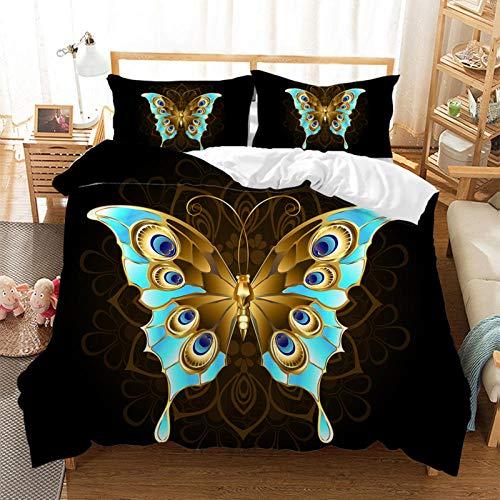 Rhmvvseso Funda de edredón 3D Mandala flor mariposa insecto funda de edredón con cierre de cremallera suave microfibra ropa de cama para adolescentes (135 x 200 cm)