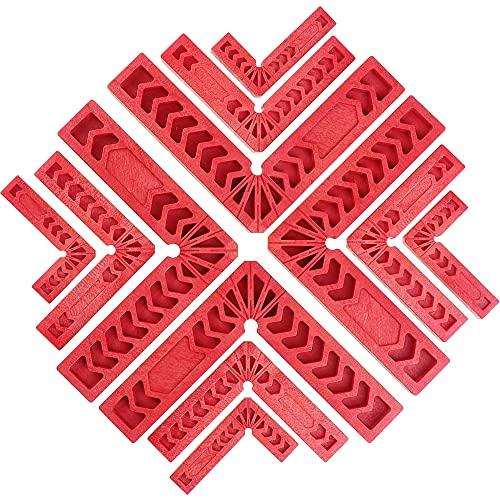 YeenGreen Morsetti ad Angolo Retto, 12 pezzi Squadra di Posizionamento 90° , Plastica Righello di Angolo Retto per la Lavorazione del Legno, per Cornici, Scatole, Armadi o Cassetti (3 4 6)