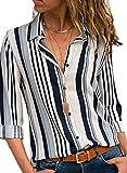 BLENCOT Camicetta Donna Casual Camicia Donna Sexy Collo a V Camicietta Blusa con Bottoni Camicia Elegante T-Shirt Maniche Lunghe, Bianco, XXL