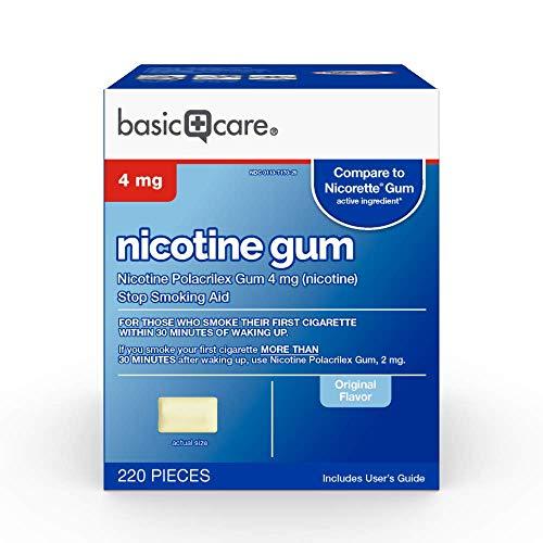 Amazon Basic Care Nicotine Polacrilex Uncoated Gum 4 mg (nicotine), Original Flavor, Stop Smoking Aid; quit smoking with nicotine gum, 220 Count