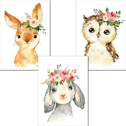 LALELU-Prints | A4 Bilder Kinderzimmer Poster | Zauberhafte Wald-Tiere mit Blumen | Babyzimmer Deko Junge Mädchen | 3er Set Kinderbilder (DIN A4 ohne Rahmen)