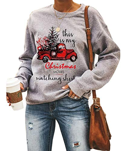 Women This is My Christmas Movies Watching Shirts Christmas Pullover Sweatshirt Graphic Tees Tops(Car-4090 M)