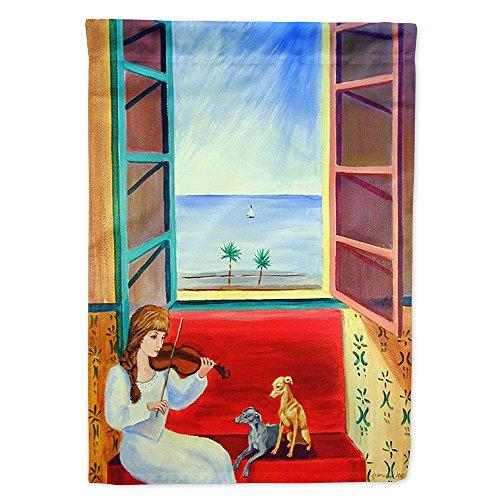 Caroline 's Treasures 7126GF Italienische Windhunde mit Mutter und Violine Flagge, klein, Multicolor