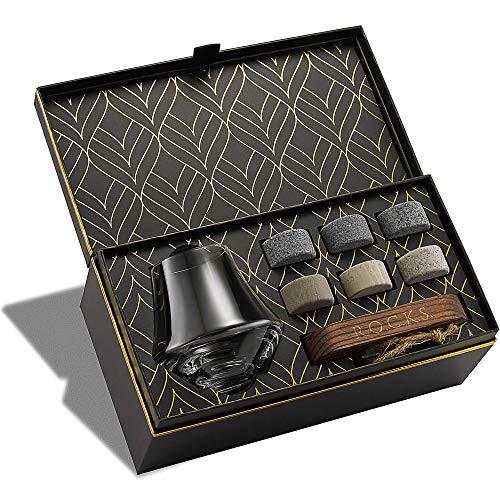 Rocks, set regalo con pietre da whisky e bicchieri da naso, set di 6 pietre in granito e 1 bicchiere da degustazione in cristallo, set regalo
