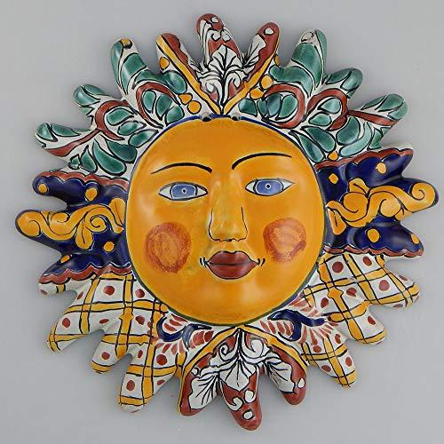 Mexikanische Talavera Keramik-Sonnengesicht, Wanddekoration, hängend aus Keramik #07