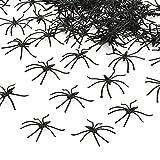 KBNIAN 100 Piezas de araña de plástico Negro Mini araña Realista Juguete de Broma Divertida para decoración de Halloween casa embrujada Mesa Interior Chimenea Ventana Cocina Fiesta cumpleaños Chico
