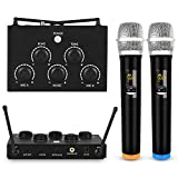 Portable Karaoke Microphone Mixer System Set with Dual UHF Wireless Mic, 3.5mm AUX/Optical/Coaxial