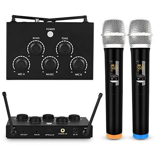 Karaoke portatile con due microfoni wireless e ricevitore/mixer UHF microfonici due in uno, 3,5 mm TRS/ottico/coassiale in/out per altoparlante o home theater