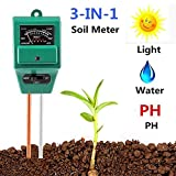 Soil Meter, 3-in-1 Soil Test Kit for Moisture, Light & pH/Acidity, Gardening Tool for Garden, Lawn, Farm, Plants, Indoor & Outdoor Plant Care Soil Tester (No Battery Need & 2019 Update)