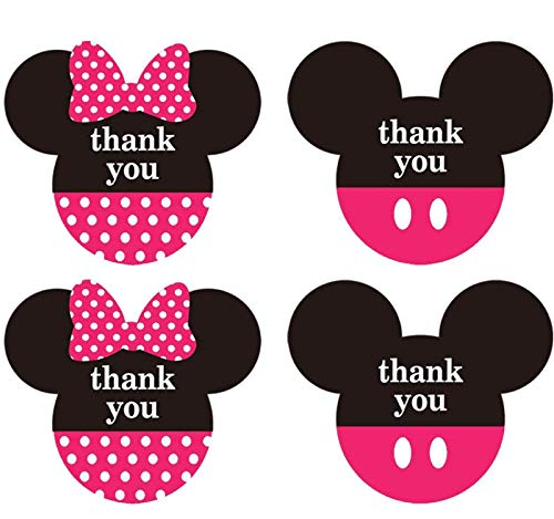 Mickey Minnie Mouse Stickers Thank You Labels 2.38 x 2 inch -Pink Mickey Minnie Head Ears Thank You Stickers for Birthday Baby Shower Party Thank You Cards Envelope Seals - 400 Labels