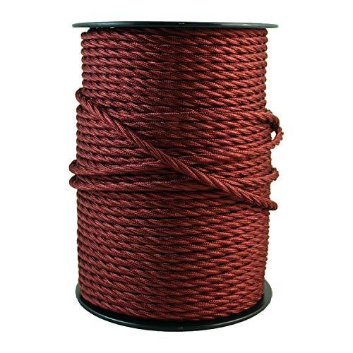 smartect Cable para lámparas de tela en color Burdeos - Cable textil trenzado de 5 Metro - 3 hilos (3 x 0,75 mm²) - Cable de luz con revestimiento textil