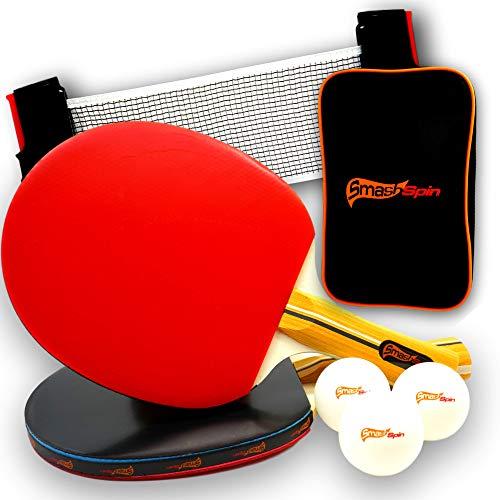 SmashSpin - Premium Tischtennisschläger Set - Tischtennis Set für die ganze Familie - Tischtennisset - Tischtennisschläger Set Mit Netz - 2 Tischtennis Schläger
