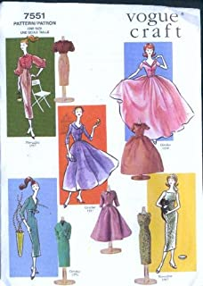 Vogue 7551 - Vintage Doll Clothes - 1956-1957 - 11.5-Inch Fashion Dolls Patterns (Vogue Craft)