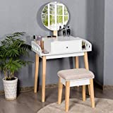 Giantex Vanity Table Set with Height Adjustable Round Mirror, Makeup Mirrored Dressing Table with Cushioned Stool, Side Storage and Large Drawer, Gift Vanities for Women Girls Bedroom (White)