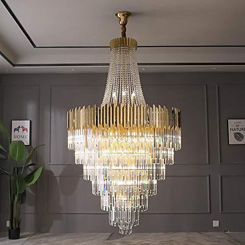 JINKEBIN Araña de Gran araña de cristal oro lujo villa sala de estar decoración led araña (Emitting Color : Cold White)