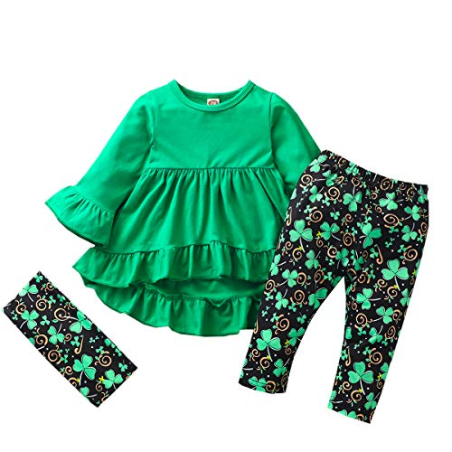 Toddler Kids Baby Girls St.Patrick's Day Outfits Flare Tunic Long Sleeve Dress Shirt Shamrock Print Pants Scarf Sets (Green St.Patrick's Day Outfits, 12-18 Months)